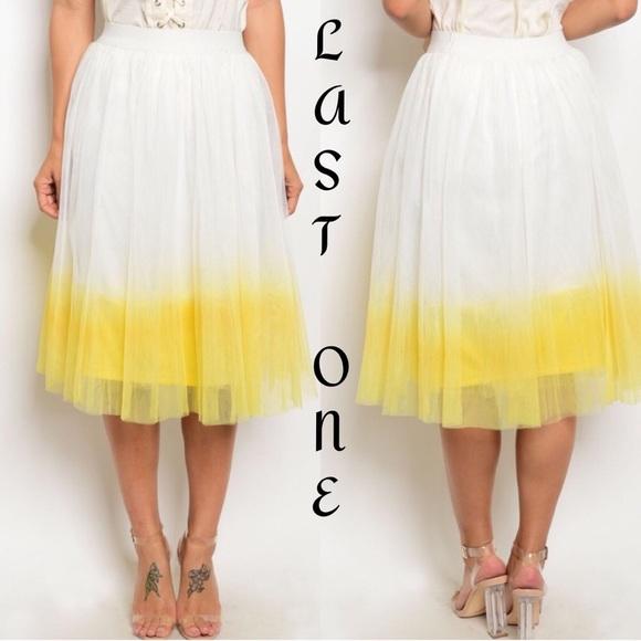 5ddaa4c806 🎉CLEARANCE🎉White Yellow Dip-Dye Tulle Midi Skirt